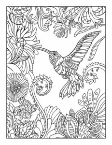 Hummingbird & Flowers: 8.5″ x 11″